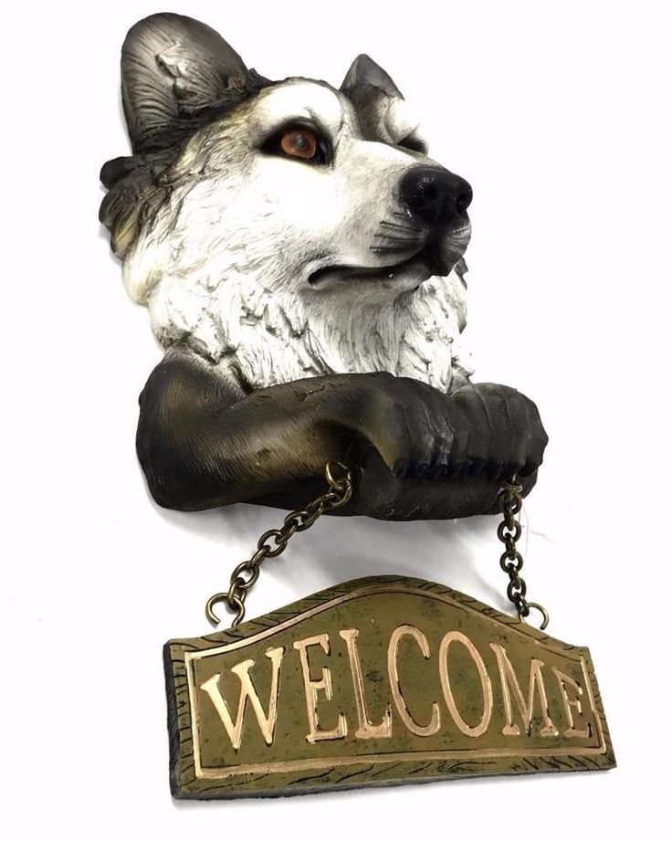 Grey Wolf Figural Welcome Sign Lodge Decor Cabin Door Art #EST