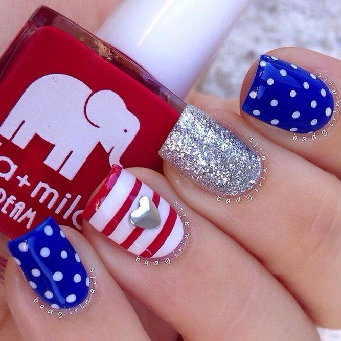 Fun and Easy Nail Designs to Celebrate Labor Day ★ See more: http://glaminati.com/fun-easy-nail-designs-labor-day/