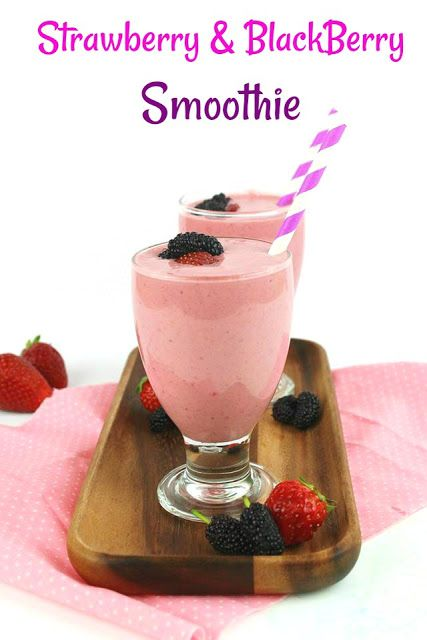 Double Berry Yogurt Smoothie!  Strawberries and Black Berries in a really yummy and healthy Smoothie with Greek Goat Yogurt and many more... Enjoy!  #berry #strawberry #smoothie #recipe #healthy #Summer #yogurt #honey
