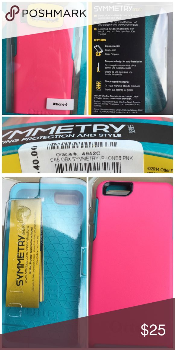 Otter box Symmetry Series iPhone 6 OtterBox Symmetry Series Case for iPhone 6/6s Heavy Protection Dual-material construction absorbs shocks with two layers of protection Soft interior layer with honeycomb design to absorb shock from drops Hard outer layer gives your phone added protection Raised bezel edge to protect your screen when dropped face-first Sleek Profile & precise fit for your iPhone Two-tone colorful design with wrap-around Teal/pink Allows access to all buttons and ports 1 year…