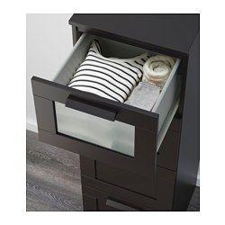 BRIMNES Kommode mit 4 Schubladen, schwarz, Frostglas - 39x124 cm - IKEA