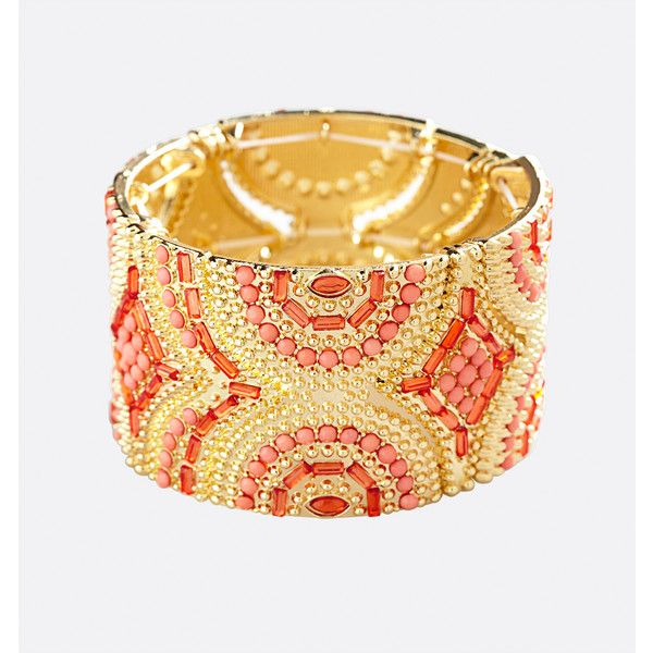 Avenue Aztec Stone Stretch Bracelet ($16) ❤ liked on Polyvore featuring jewelry, bracelets, coral, plus size, bead jewellery, aztec jewelry, beading jewelry, avenue jewelry and artificial jewellery