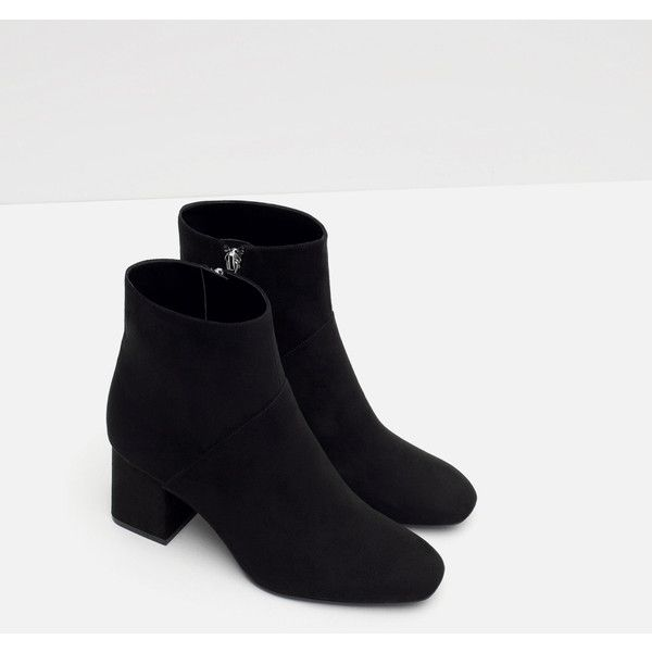 Zara High Heel Pointed Ankle Boots (600 SEK) ❤ liked on Polyvore featuring shoes, boots, ankle booties, zara boots, short boots, pointy booties, pointed booties and bootie boots