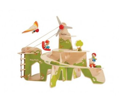 Wooden Play Park Play Set ~  This amazing Play Park play set is bound to give your child hours of entertainment!  The wooden play set features a working cable car, a climbing ladder, a rotating wind turbine, tow bikes, a glider and three family figures.  Suitable for ages 3+  £79.99