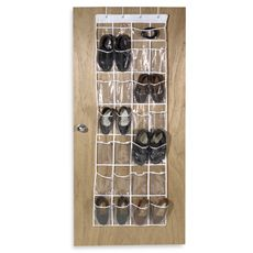 Crystal Clear 24 Pocket Over The Door Vinyl Shoe Organizer   Bed Bath U0026