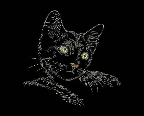 Cat embroidery design Machine embroidery design 4 Sizes