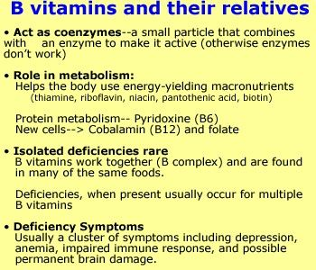 vitamin B complex are critical nutrients for all things mind-related: mood, memory, even migraines can benefit from the B's. In the right amounts, they quell anxiety, lift depression, ease PMS, and boost your energy. The B vitamins work as a team. Some B vitamins burn fats and glucose for energ, some help make neurotransmitters like serotonin. Some B's assist in production and repair of DNA. B-rich foods: dark-green vegetables, protein from animal sources, and whole grains is critical.