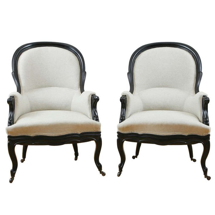 Pair Of French Napoleon III Ebonized, Upholstered Bergères, Circa 1860