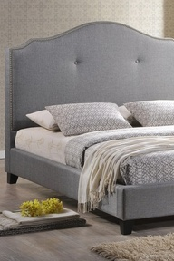 Scalloped Linen Modern Bed with Upholstered Headboard in Grey.