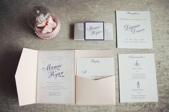 Blush Pink and Grey Wedding Invitation / by FaithInLoveWedding