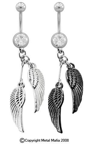 ANGEL WINGS DANGLE BELLY PIERCING RING BNAAWHSSLV -SILVER COLOR