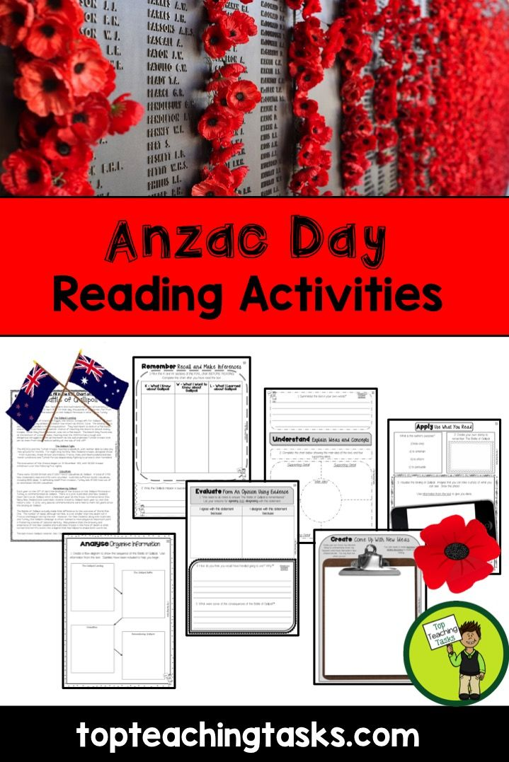 This Anzac Day Reading Resource includes FOUR Year Five and Six non-fiction texts with six engaging text dependent higher order thinking tasks - perfect for reading comprehension!   Learn more about the history of Anzac Day, the Battle of Gallipoli and what those red poppies are all about!   This resource would also be suitable Year Seven and Eight learners as the higher order thinking activities will keep them challenged and engaged! www.topteachingtasks.com