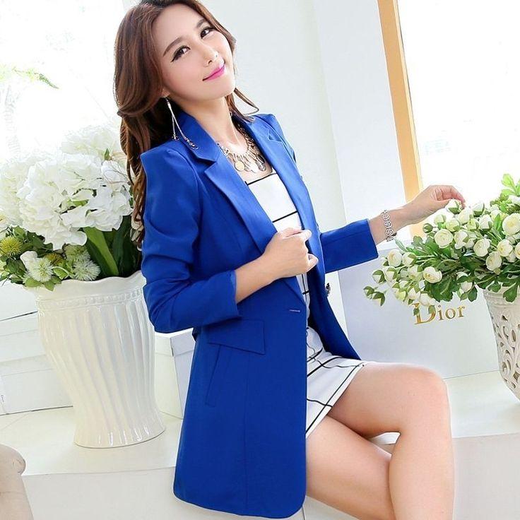 2017 Fashion Womens Long Sleeve Solid Slim Casual Suit Jacket Blazer Coat