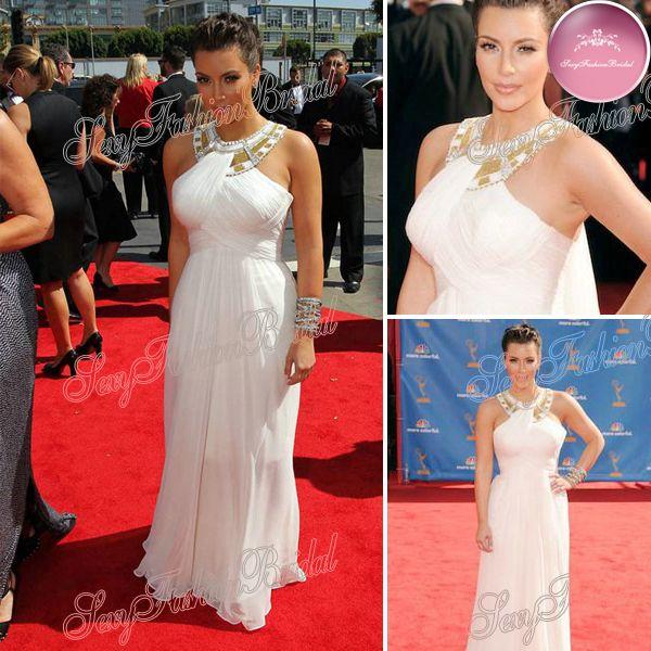 kim kardashian halter ruffle taille naturelle perles accentués pleine longueur formelle robes du soir en mousseline de soie blanche célébrité