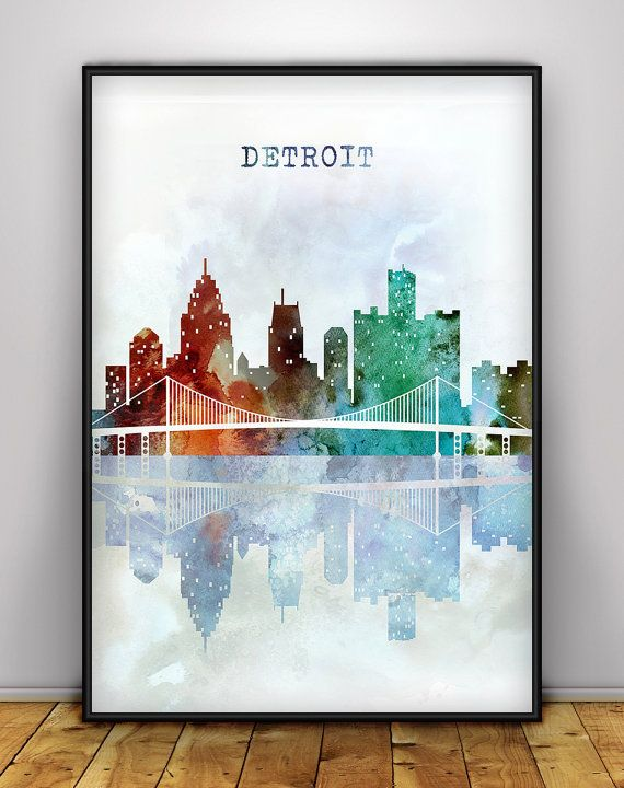 Detroit Skyline Print, Michigan Wall Art, Cityscape Poster, Detroit Artwork, Michigan Skyline, Home Decor, Detroit Watercolor Poster