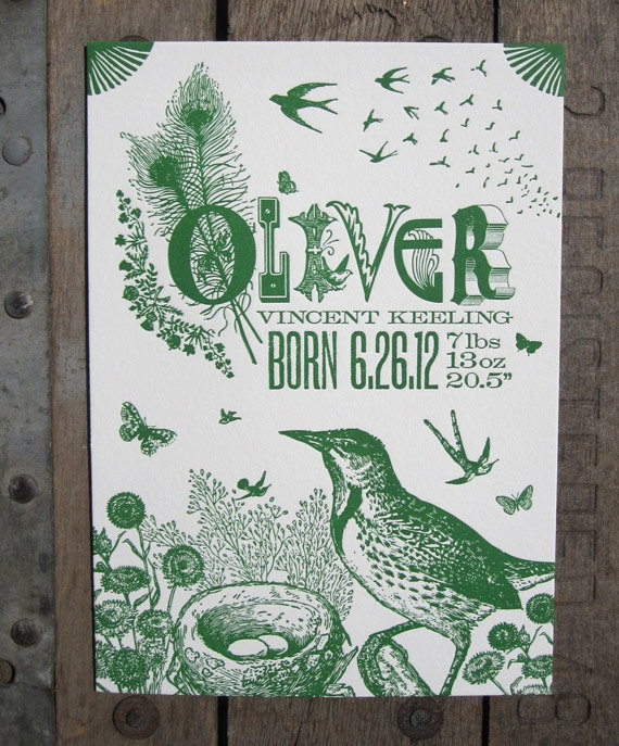 I don't need these, but wow! gorgeous! Custom Designed Letterpress Baby Announcements Bird by colorquarry