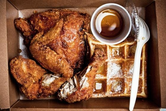 Fried Chicken and Waffles - crispy chicken doused in sweet maple syrup sitting atop a fluffy waffle. Thank you, Little Skillet for this gem.