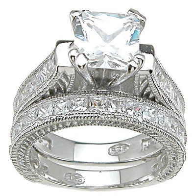 $100 Plutus Partners .925 Sterling Silver Princess Cut Cubic Zirconia Engagement Ring Set
