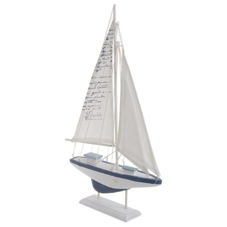 WOODEN BOAT IN WHITE/BLUE COLOR 26.5X5X42 - Metallic - Minatures - DECORATIONS - inart