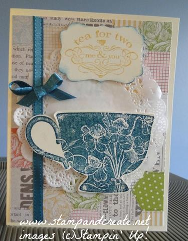 Tea Shoppe stamp set, with Tea for Two DSP, doily and satin ribbon. Heat embossed