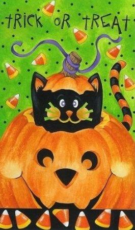 Amazon.com: Trick Or Treat Cat In Jack Halloween Garden Flag: Patio,