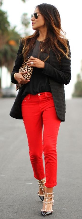 We all know black is always in style...why not pair it with bright pants to give it a little lift?