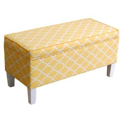 Threshold Patterned Storage Bench Yellow Living Room