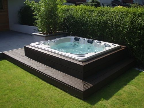 Demi Sunken Tub, Decking Surround With Mitred Corners. Bamboo Contained !