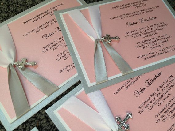 Classic Baptism Invitation Christening Invite by decadentdesigns