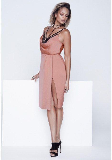 Alesha Dixon Eyelash Lace Slip Dress in Blush