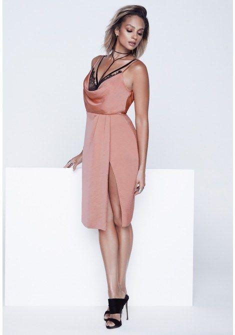 Alesha Dixon Eyelash Lace Slip Dress in Blush