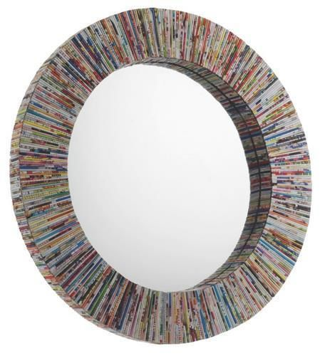 New Habitat Cohen Recycled Magazine Round Faced Wall Mirror Multi-Coloured