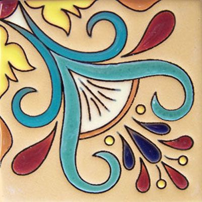 Mexican Tiles For Sale | Mexican Ceramic Tile Malibu Cuerda Seca ...