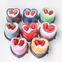 Specification: Product Name: Heart Shape Cake Towel Material: Cotton Color: Pink / Blue / Green / Re