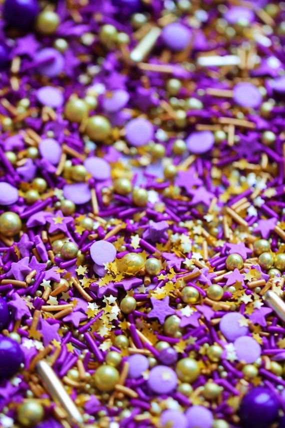 Royalty Sprinkles Blend Purple And Gold Sprinkles Fancy Sprinkles Gold Dragees Royal Sprinkles In 2020