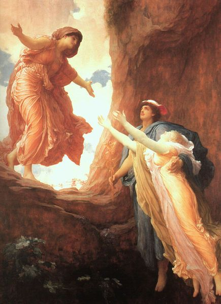 Hermes bringing Persephone back to her joyful mother. Frederic Leighton.
