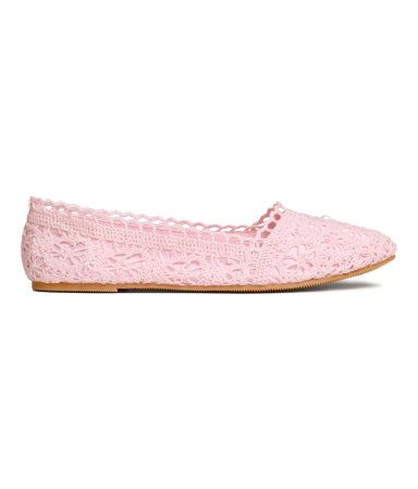 Light pink. Ballet flats in lace. Fabric lining, fabric insoles, and rubber…