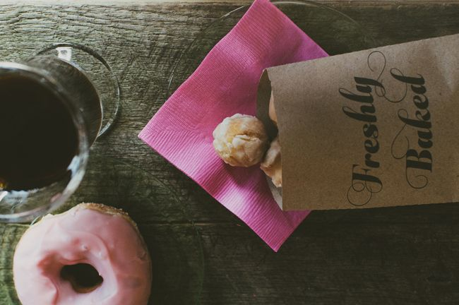 A rustic coffee and donut bar bridal shower on Showerbelle.