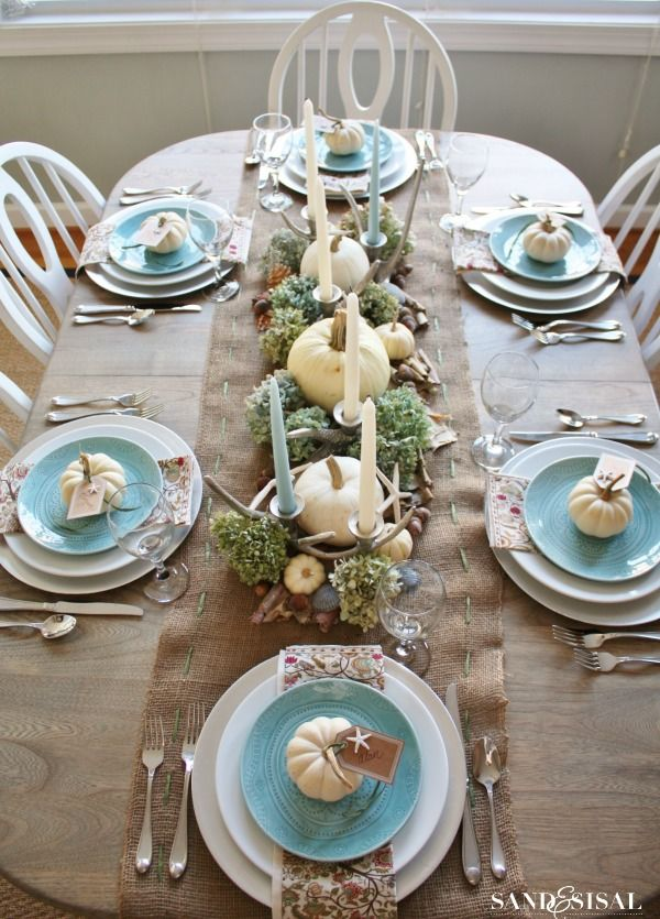 Turquoise salad plates on my white china, plus white pumpkins. Coastal-Autumn-Tablescape