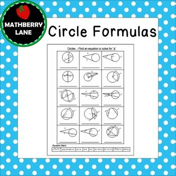 Circle Formulas include finding segment lengths and arc measures all summarized nicely on one page.  An equation bank is located at the bottom of the page to help students find the formula for each figure.  Differentiation includes a worksheet with an equation bank and another worksheet without the bank.Page 1: Using Circle Formulas to solve for a variable for each figure with bankPage 2: Answer KeyPage 3: Using Circle Formulas to solve for a variable for each figure without a bankThis…