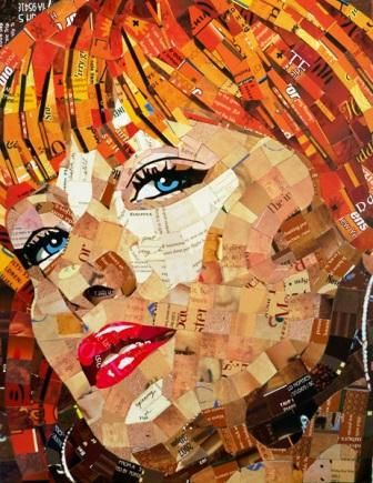 Sandhi Schimmel Gold creates detailed mosaic art from tiny pieces of discarded menu items, junk mail postcards, business cards.