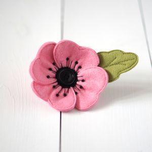Handmade Pink Felt Poppy Brooch