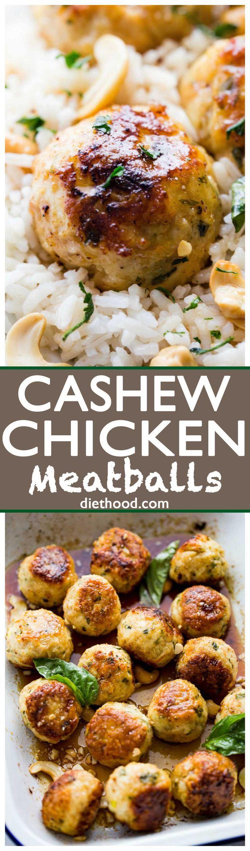 Cashew Chicken Meatballs: Seasoned and nutty chicken meatballs served with a side of sweet and sour sauce.