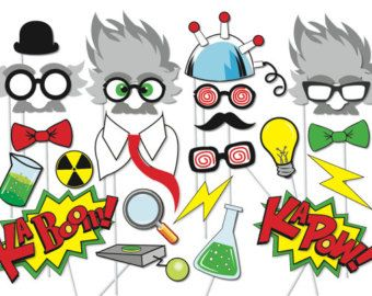 Mad scientist Party Props Set - 23 Piece PRINTABLE - Little scientist Party Photo Booth Props