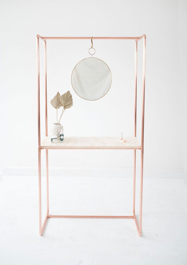 Copper Console Table with Frame and Pine Plywood Table Top