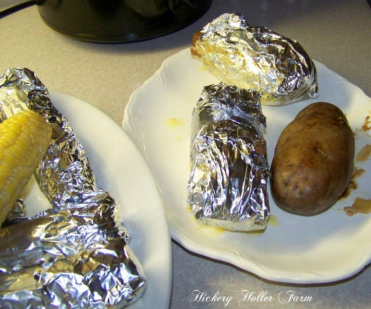 Crock Pot Cooking ~Pork Chops/Baked Potatoes~~ http://hickeryhollerfarm.blogspot.com/2012/03/crock-pot-cooking.html