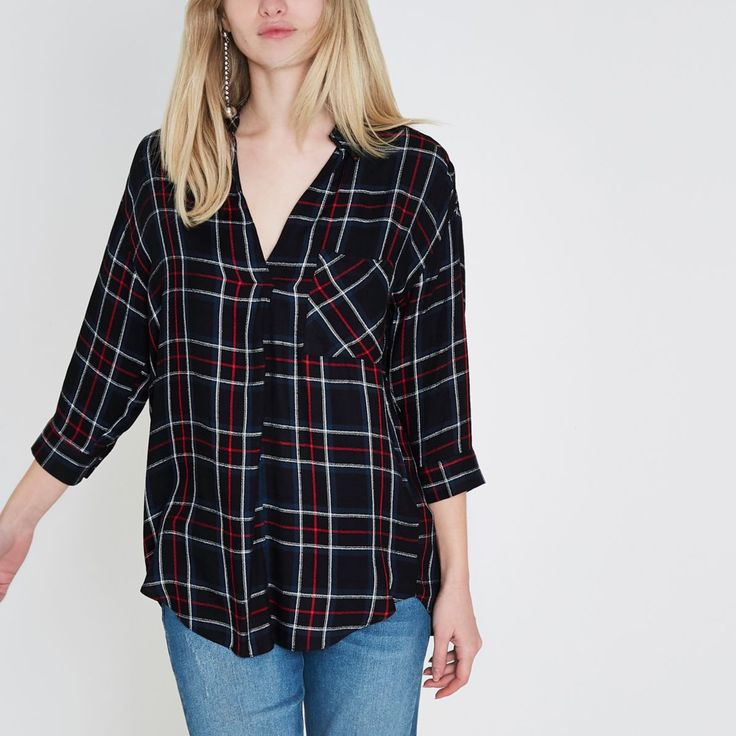 Black and red check cross back blouse - Blouses - Tops - women