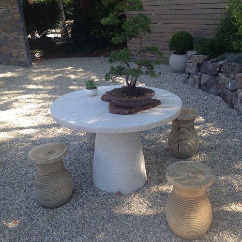 Stone Table. Sunset Magazine New Backyard Cottage. Modular
