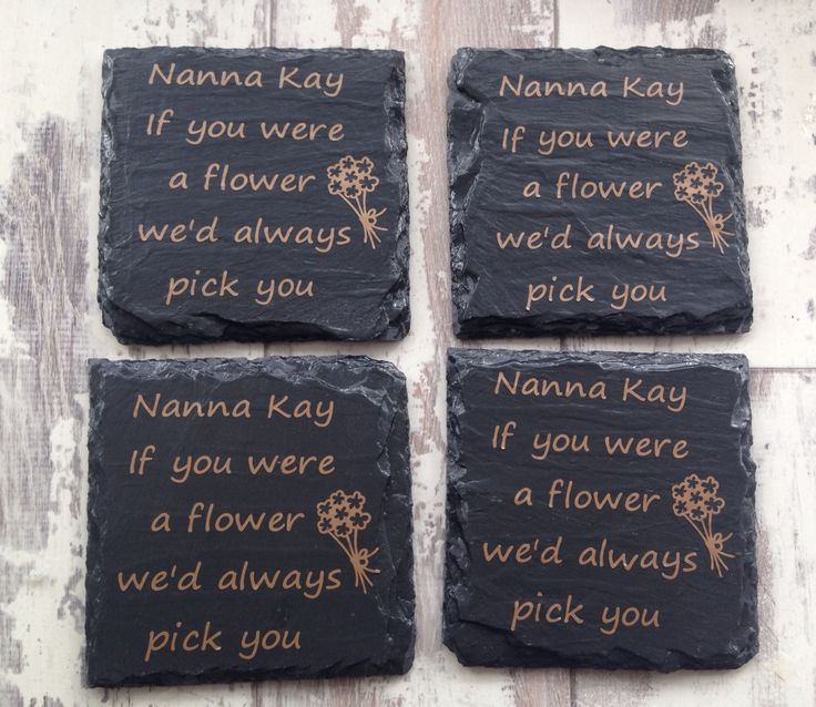 Personalised slate drink coasters.  Have any message written on the coasters.  They come wrapped in a lace bow.  Visit my etsy store for more information.