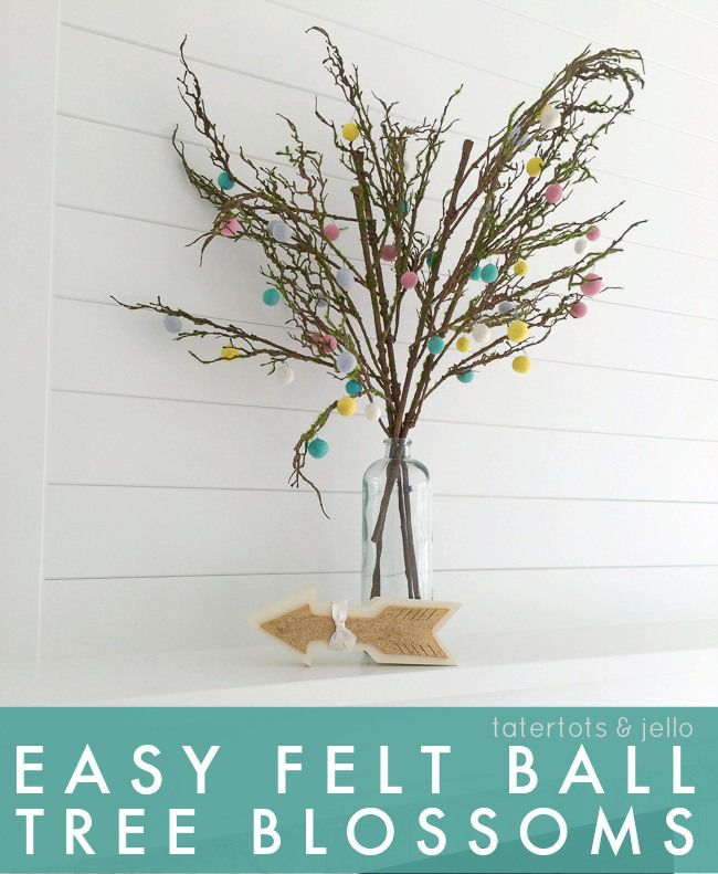 Easy Felt Ball Tree Blossoms! Such a quick and fun project for Spring! -- Tatertots and Jello